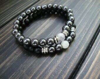 FREE SHIPPING Mens bracelets set Hematite Black Onyx 6 mm Gemstone bracelets man Elastic bracelet stretch Mens beaded bracelet Couples His
