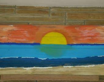 Sunset painted on barnwood