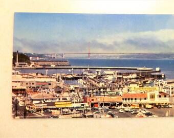 Postcard view of Fisherman's Wharf in San Francisco, CA