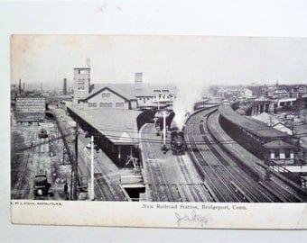 Vintage 1906 Postcard Bridgeport , CT New Railroad Station