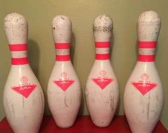 Vintage Wood and Plastic Covered Bowling Pin