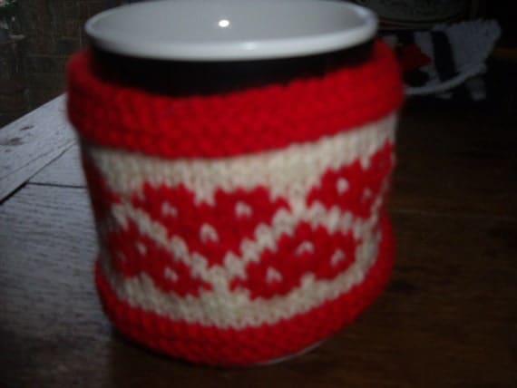 Hand knitted mug hug / mug cosy Valentine  hearts