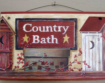 Outhouse Country Bath Sign wood Wall hanger stars moon berries