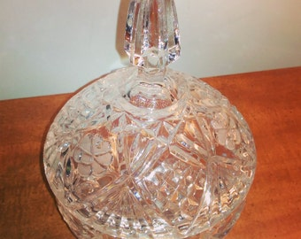 Vintage Cut Glass Covered Candy Dish