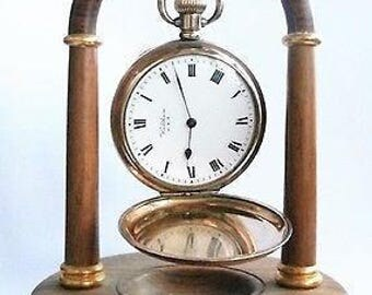 Antique Waltham USA Star Dennison AWW and Co Gold Plated Full Hunter Pocket Watch and Stand