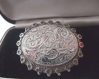 Antique Victorian Large Engraved Silver Brooch
