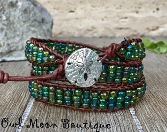 Triple Wrap Leather Bracelet Green Iridescent Seed Beads