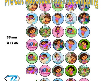 35x Dora The Explorer Cupcake Toppers Edible Icing or Wafer Precut 35mm Cake