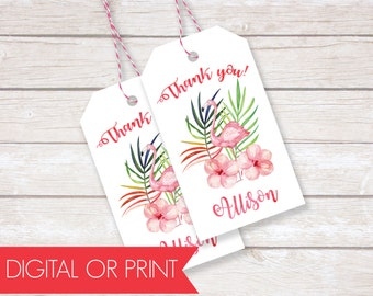 Luau Party Favor Tags, Birthday Thank You Tags, Printable Favor Tags, Printed Favor Tags, Custom Thank You Tags, Personalized Party Tags