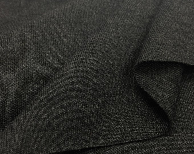 100% Cotton 1x1 Rib Knit Fabric (Wholesale Price Available By the Bolt) USA Made Premium Quality - 4001CCH Charcoal - 1 Yard