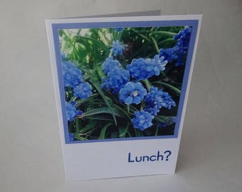 """Mother's Day Card with Blue Muscari (Grape Hyacinth) Flowers and the Word """"Lunch?"""" - #1265"""