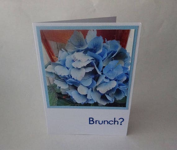 "Mother's Day Card with Blue Hydrangea Flowers and the Word ""Brunch"" - #472"