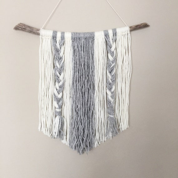 Yarn Wall Hanging // MADE TO ORDER  / Grey Cream White Neutral / Nursery Art / Home Decor / Boho / Wall Art /