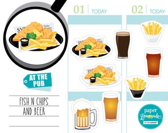 Planner sticker Pub Food beer planner sticker fish and chips tracker sticker french fries removable stickers for kikki k filofax S055-PUB