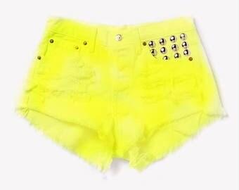 High Waisted Denim Jean Shorts Custom colors studded