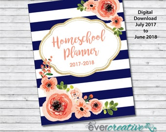 Homeschool Planner | 2017-2018 | Calendar | Lesson Plans | Goal Planning | Printable