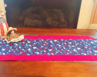 Red White And Blue Stars Confetti Table Runner