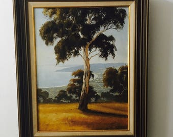 Vintage original Painting Australian Artist Mornington Arthurs Seat John Bredl