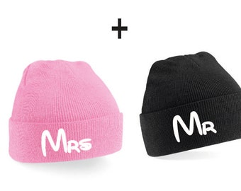 Mr Mrs Couple Beanie Mütze -  Girlfriend,Beanies,Friends,Gift,Best friends,love,friends gift,birthday gift