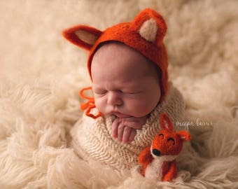 Newborn Fox Bonnet Set // Newborn Photography Prop