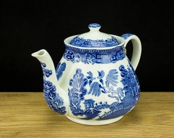RARE Antique Wedgwood & Co Blue Willow Teapot, c1910s