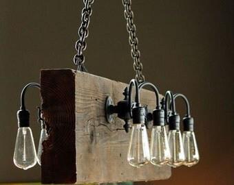 Reclaimed Wood Beam Rustic Industrial Chandelier