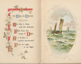 The Day Is Done, H W Longfellow, Beautiful Victorian Book, 1909