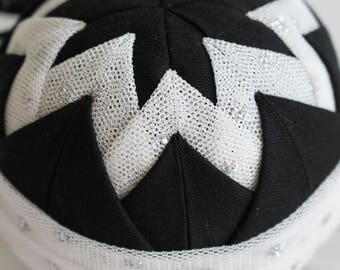 Black & White Glitter Tulle Fabric Quilted Ornament