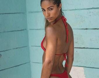 Red Seamless Brazilian String Bikini Bottom- Tassels