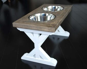 Medium - Dog Bowl Stand - Raised Dog Feeder - Farmhouse Table - Elevated Dog Bowl - Dog Feeder - Dog Food Stand - Dog Bowl Holder -