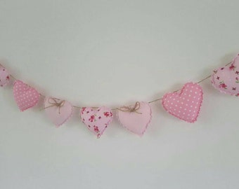 Hand Made Shabby Chic 7 Heart Fabric Garland Bunting Pink Ditsy Floral & Spot