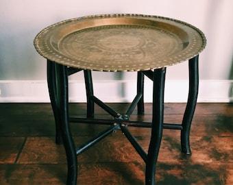Vintage Folding Brass Tray Table w/ Folding Black Wood Base / Side Table