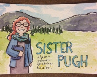 Custom watercolor postcard for LDS missionaries