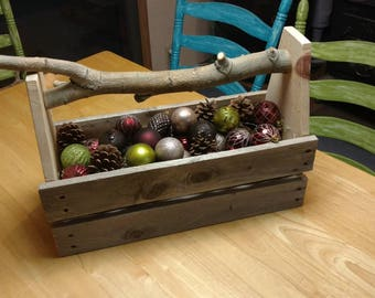 Tool Caddy - Holiday Themed - Toolbox from reclaimed wood