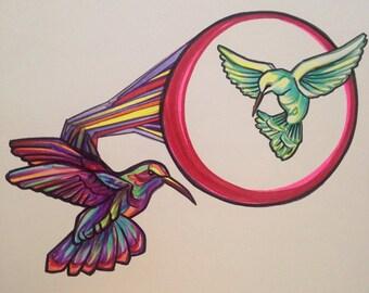 Original Hummingbird Ink Sketch, Sharpie Art, Bird Drawing, Animal Art, Surreal Fractal Wall Art, Fine Arts, Art Design, Geometric Wings Art