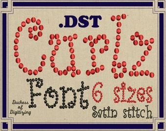 Curlz embroidery font, DST Format, Curly embroidery font,  curlz dots, embroidery file