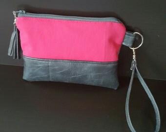 Gray Hot Pink Wristlet - Wristlet Wallet - Womens Wallet - Faux Leather - Small Crossbody - Phone Wallet - Wristlet Purse - Bridesmaid Gift