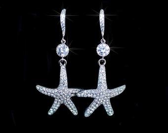 Handmade CZ & Crystal Rhinestone Starfish Dangle Earrings (Sparkle-2077)