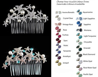 Choose Your Accent Colour -- Beautiful Crystal Rhinestone Starfish Hair Comb, Bridal, Wedding (Sparkle-2217)