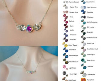Choose Your Colour--Handmade Swarovski Crystal Fancy Triple Stone Necklace, Bridal, Wedding (Sparkle-2633)