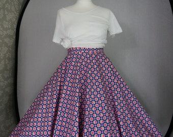 Pink & blue spotty circle skirt