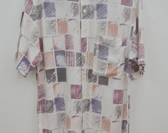 TRUSSARDI Shirt Vintage 90's Trussardi All Over Print 100% Rayon Button Down Shirt Size M