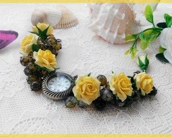 Jewelry watch Woman watch Bracelet watch Flower watch Roses watch Flower bracelet Yellow watch Vintage watch Girls watch Women's day gift