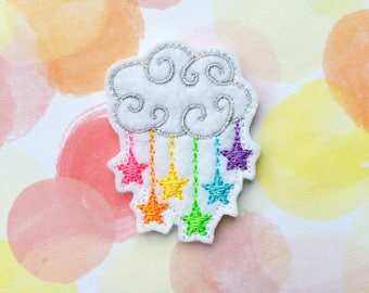 Raincloud Felties, Rainbow Stars, Felt Applique, Embroidered Applique