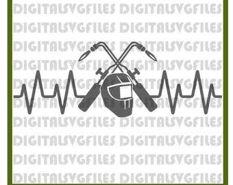 Heartbeat Welder SVG File, Welding SVG File,Skilled Trades SVG Cutting Vector Clip Art for Commercial & Personal Heartbeat Welder svg dxf