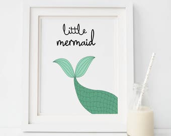 Mermaid nursery printable, nursery mermaid prints, nursery printable quote, nursery decor, printable wall art, kids poster, digital prints