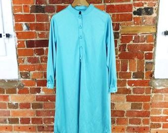 Vintage Turquoise Shirt Dress Size 12