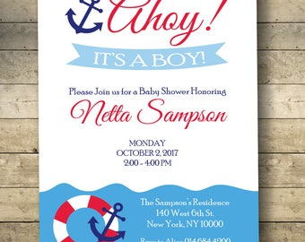 Nautical Baby Shower Invitation, Sailor Baby Shower Invitation, Anchor Baby  Shower Invitation, Boy