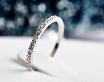 Small Half Eternity Ring, 1.5mm Wedding Band,Man Made Diamond Simulants, 925 Sterling Silver Ring, Cubic Zirconia Wedding Ring, (ring1006)