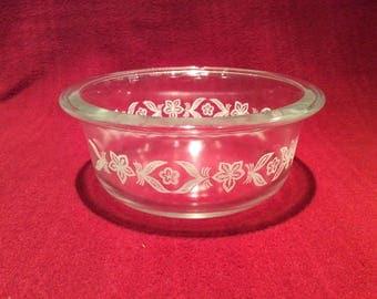 "Phoenix Opalware Clear Glass white Leaf Pattern Dish 5.25"" diameter 2.25"" deep"
